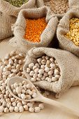 Hessian Bag With Chickpeas And Sack With Grains