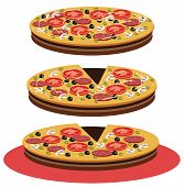 image of hot fresh pizza  - Vector fresh delicious pizza isolated on white - JPG