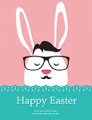 Background and greeting card with hipster Easter rabbit