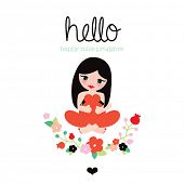 Hello miss pregnant woman postcard cover design with illustration typography and flowers in vector