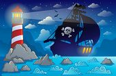 Pirate ship silhouette near coast 2 - eps10 vector illustration.