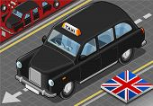 Isometric Black London Taxi In Front View