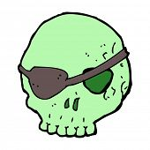 cartoon skull with eye patch