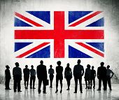 British flag and a group of business people.
