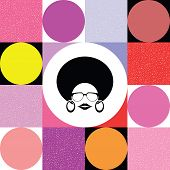 afro lady on colorful retro background