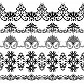 Black and white border ornaments vector template. Set 2.
