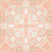 Hand Drawn Pastel Ornate Pink Floral Background. Eps10