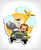 Animals In A Car - Illustration