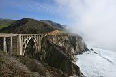 picture of bixby  - Beautiful Bixby Bridge Big Sur California fog hanging along the edge of Hwy 1 - JPG