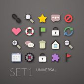 stock photo of universal sign  - Flat icons vector set 1  - JPG