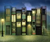 picture of fable  - Many books with windows doors lamps in a external background in the night - JPG