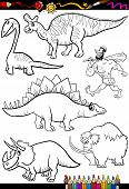 image of dinosaur  - Coloring Book or Page Cartoon Illustration Set of Black and White Dinosaurs and Prehistoric Animals Characters for Children - JPG