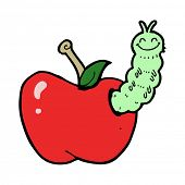 cartoon bug eating apple