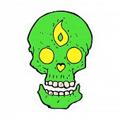 cartoon mystic skull