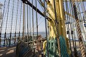 Sea Hemp Ropes And Pulleys On The Old Nautical Vessel
