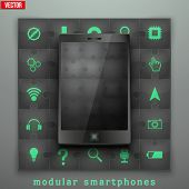 Concept of Modular smartphone. Background Illustation.