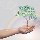 Concept or conceptual green business text word cloud on man hand, tagcloud on rainbow sky background