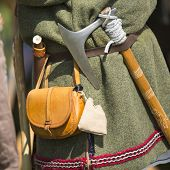 Clothing medieval reenactment, haversack and hatchet.
