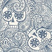 seamless pattern with skulls and paisley