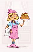 little girl cooking sweet cake at the kitchen. Rasterized illustration.