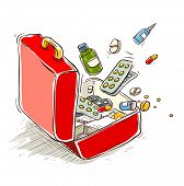 first aid box with medical drugs and pills. Rasterized illustration.