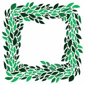 Green leaves fresh spring wreath frame on white background, vector