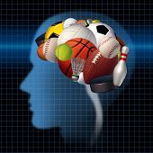 pic of psychological  - Sport psychology concept as a group of sports equipment shaped as a human brain as a mental health symbol for the relationsip between psychological and physical elements of neurology to improve performance in athletes and treating competitive anxiety - JPG