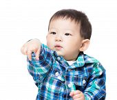Baby child with funny hand gesture