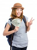 Female backpacker showing travel fee