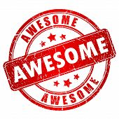 foto of you are awesome  - Awesome vector stamp isolated on white background - JPG