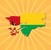Guinea Bissau map and flag on sunburst illustration