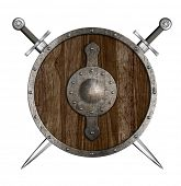 Crossed swords and wooden round shield isolated