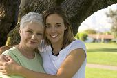 stock photo of nana  - young pretty girl with her pretty grandmother - JPG