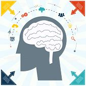 Flat Businessman Brain Headmind Social Network Media Icon Infographics Vector illustration