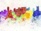 Nashville Skyline In Watercolor Background