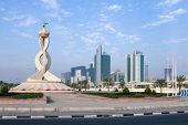 DOHA, QATAR - NOVEMBER 18, 2007: The now demolished Oryx Roundabout and commercial district of Doha