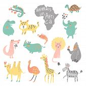 picture of african animals  - Cute childish set - JPG