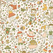 Gentle seamless pattern with children in the garden. Playing kids with toys. Vector background with cartoon boys and girls with flowers.