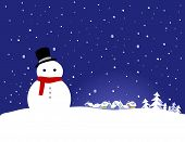 Vector Christmas Background - Snowman