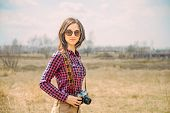 Hipster Girl With Vintage Photo Camera