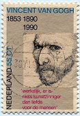 NETHERLANDS - CIRCA 1990:Stamp showing image commemorating 100 years since the death of  Vincent Van