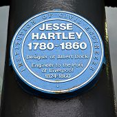 Jesse Hartley Blue Plaque At The Albert Dock In Liverpool