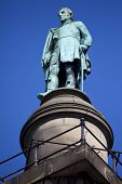stock photo of duke  - A statue of the Duke of Wellington situated on top of Wellington - JPG