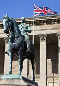 Prince Albert Statue Outside St. George's Hall In Liverpool