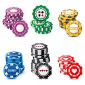 gambling chips stacks over white background