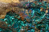 stock photo of iron ore  - Crystal nugget gold bronze copper iron. Macro