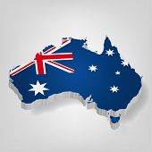 3D vector flag map of Australia. Blue poster