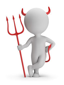 stock photo of trident  - 3d small person  - JPG