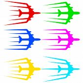 Flying airplane  stylized vector illustration.  Airliner, jet.