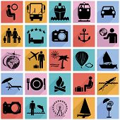 Collection flat icons with long shadow. Travel symbols. Vector i